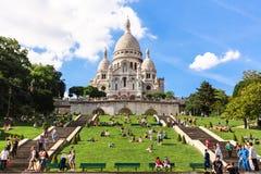 大教堂在蒙马特小山,巴黎,法国的Sacre Coeur 库存图片