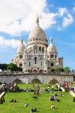 大教堂在蒙马特小山,巴黎,法国的Sacre Coeur 免版税库存照片