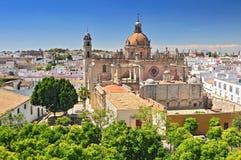 大教堂在赫雷斯德拉弗龙特拉,卡迪士省,安达卢西亚,西班牙 库存照片