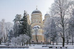 大教堂在里加。  库存照片