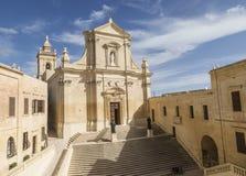 大教堂在维多利亚的城堡戈佐岛的,马耳他 免版税库存照片