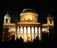 大教堂在Esztergom的晚上,匈牙利 库存照片