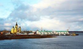 大教堂在Strelka的Alexandr Nevsky 库存照片