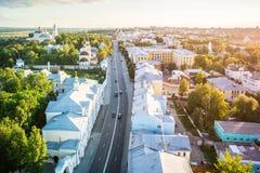 大教堂城市日落在弗拉基米尔,俄罗斯 库存图片