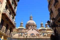 大教堂城市el毛发的西班牙萨瓦格萨 免版税库存照片