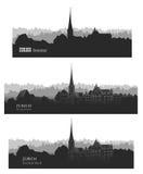 大教堂城市grossmunster瑞士苏黎世 地平线剪影sset 传染媒介citysc 库存图片