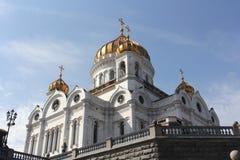 大教堂基督・莫斯科晚上俄国救主场面 免版税库存照片