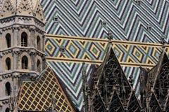 大教堂屋顶s st斯蒂芬・维也纳 图库摄影