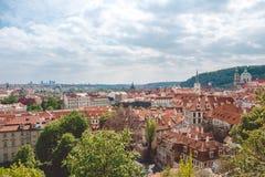 大教堂布拉格春天st vitus 有一片红瓦顶和鲜绿色的叶子的老房子 历史季度 图库摄影