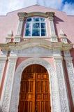 大教堂彩色玻璃华丽门 库存图片