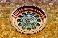 大教堂意大利otranto普利亚圆花窗 库存照片