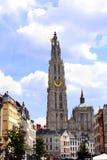 大教堂我们的夫人,安特卫普比利时钟楼  免版税库存图片