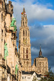 大教堂我们的夫人,安特卫普,比利时尖顶  免版税图库摄影