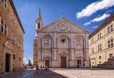 大教堂托斯卡纳,意大利Pienza广场。 免版税库存照片