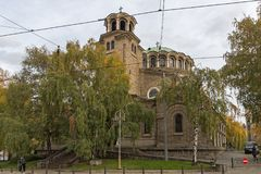 大教堂教会St Nedelya在索非亚,保加利亚 库存图片