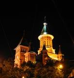 大教堂晚上正统罗马尼亚timisoara 库存照片