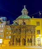 大教堂正方形在晚上 库存图片
