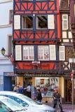 大教堂正方形在科尔马在阿尔萨斯法国 免版税图库摄影