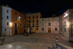 大教堂正方形,希罗纳,加泰罗尼亚,西班牙夜视图  库存图片
