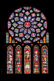 大教堂沙特尔vitrages 免版税图库摄影