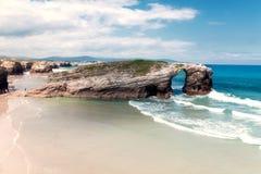 大教堂海滩,加利西亚,西班牙 免版税库存照片