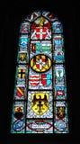 大教堂玻璃弄脏了瑞士视窗 免版税库存照片