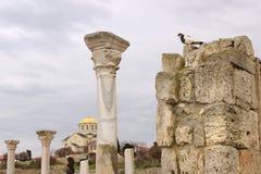 大教堂的废墟在Chersonesus 库存图片