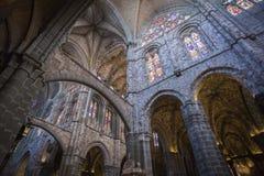 大教堂的里面看法在阿维拉 库存图片