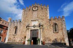 大教堂西西里岛taormina 库存照片