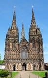 大教堂西部朝向,利奇菲尔德,英国 免版税图库摄影