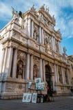 大教堂,卖艺术,威尼斯,意大利的威尼斯式画家 库存图片