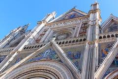 大教堂,奥尔维耶托,意大利门面  免版税图库摄影