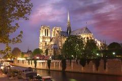 大教堂贵妇人夜间法国notre巴黎 免版税库存图片