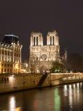 大教堂贵妇人晚上notre巴黎 图库摄影