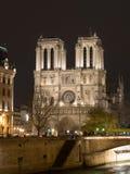 大教堂贵妇人晚上notre巴黎 库存照片