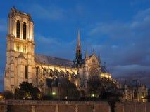 大教堂巴黎,法国Notre Dame,微明的 免版税库存照片