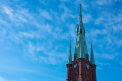 大教堂Clocktower在老城斯德哥尔摩 免版税库存照片