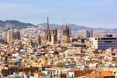 大教堂de巴塞罗那, Sagrada Familia鸟瞰图  免版税图库摄影