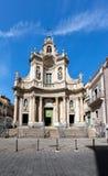 大教堂della Collegiata在卡塔尼亚,西西里岛,意大利 库存图片