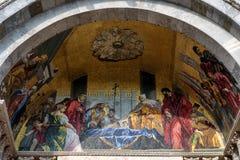 大教堂di圣Marco的马赛克门面在威尼斯,意大利 免版税库存图片