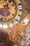 大教堂fira大城市正统santorini 免版税库存图片