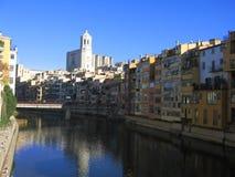 大教堂girona塔 免版税库存图片