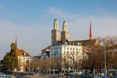 大教堂grossmunster苏黎世 免版税库存图片