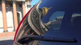 大教堂isaac s st 在汽车的杯的反射 4K 股票视频