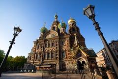 大教堂krovi na彼得斯堡温泉st 免版税库存照片