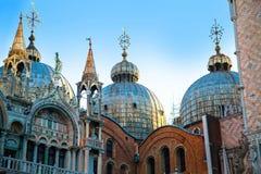 大教堂marco圣 在正方形,威尼斯,意大利的清早 库存照片