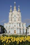 大教堂petesburg smolny俄国的圣徒 免版税库存照片