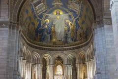 大教堂Sacre Coeur内部  免版税库存照片