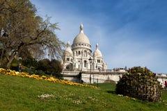 大教堂Sacre Coeur在巴黎 免版税库存照片