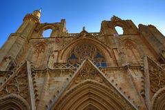 大教堂stNicolas (Lala穆斯塔法巴夏清真寺)在市法马古斯塔,北赛普勒斯土耳其共和国 免版税库存照片